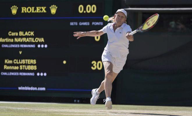 Navratilova, durante la final del torneo de dobles para veteranas de Wimbledon.