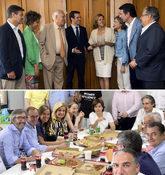 Arriba, foto de la comida de Casado con ex ministros. Abajo, comida de...