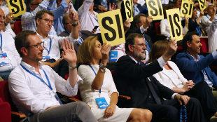 Mariano Rajoy y María Dolores de Cospedal durante el Congreso del PP