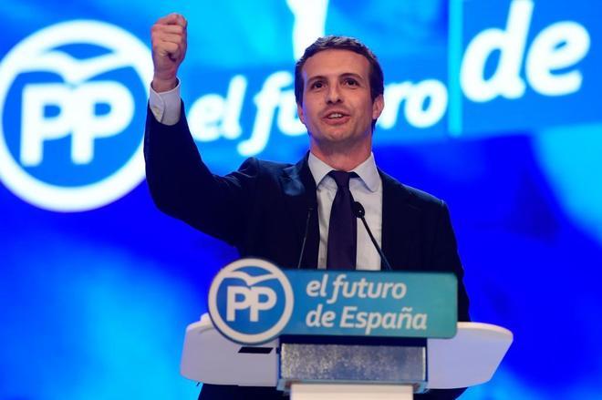 El candidato a la presidencia del PP, Pablo Casado, durante su discurso