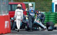 Hamilton, tras el problema hidráulico de su coche, el sábado en Hockenheim.