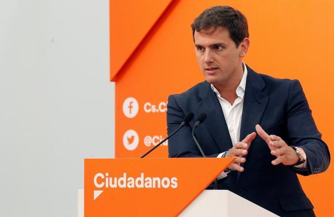Albert Rivera, en la rueda de prensa ofrecida esta mañana en Madrid.