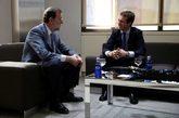 Mariano Rajoy y Pablo Casado, durante una reunión, ayer, en la sede...
