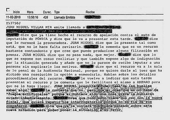 Uno de los informes policiales que reproduce una llamada de Villar Mir.