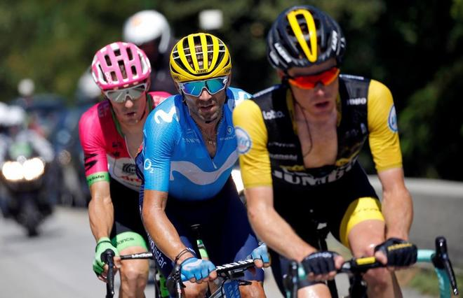 Cycling - Tour de France - The 175.5-km Stage 12 from Bourg-Saint-Maurice Les Arcs to Alpe d'Huez - July 19, 2018 - LottoNL-Jumbo rider Steven Kruijswijk of the Netherlands, Movistar Team rider Alejandro Valverde of Spain and EF Education First - Drapac p/b Cannondale rider Pierre Rolland of France in action. REUTERS/Stephane Mahe