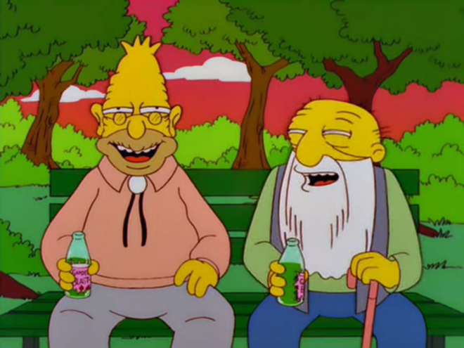 El abuelo Abe Simpson junto a su amigo Jasper