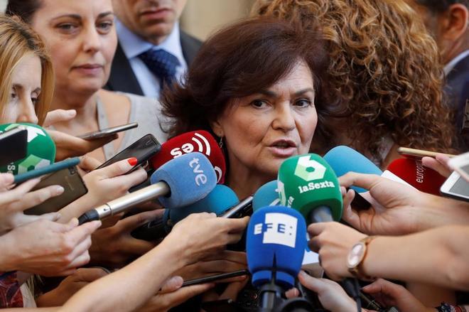 La vicepresidenta del PSOE, Carmen Calvo