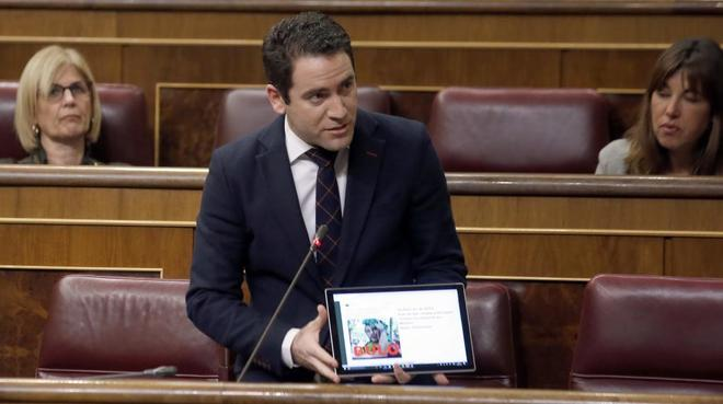 Teodoro García, en un pleno del Congreso de los Diputados.