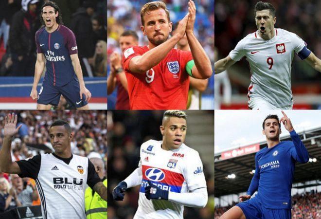 Cavani, Kane, Lewandowski, Rodrigo, Mariano y Morata.