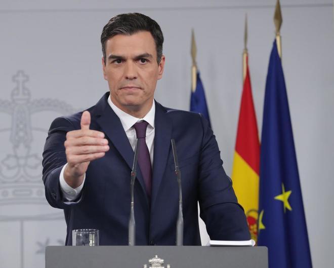 Pedro Sánchez durante la rueda de prensa tras su reunión con Macron.
