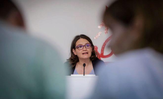 La vicepresidenta y portavoz delConsell, Mónica Oltra, ayer en rueda de prensa.