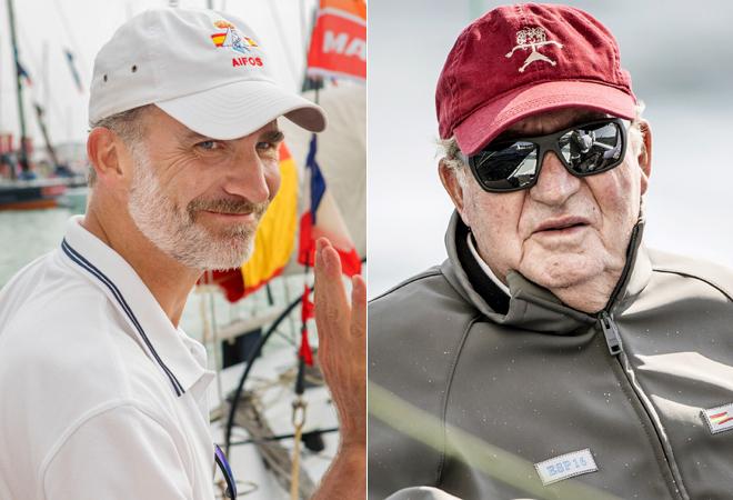 El Rey Felipe y su padre, Don Juan Carlos, en dos imágenes de 2017. No habrá encuentro en Palma.