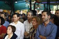 Íñigo de la Serna, entre Juanma Romero, Fátima Báñez y Borja Sémper, en el acto de cierre de campaña de Sáenz de Santamaría a las primarias.