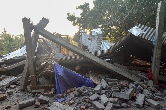 Una vivienda completamente destruida tras el terremoto.
