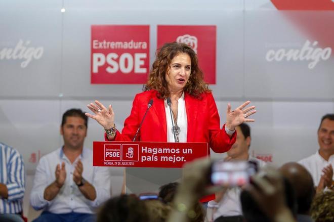 María Jesús Montero, en un acto del PSOE en Mérida.