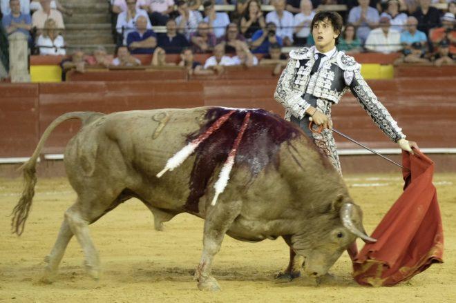 Enhiesto natural de Roca Rey mirando al tendido ante el sexto toro de Cuvillo, al que desorejó