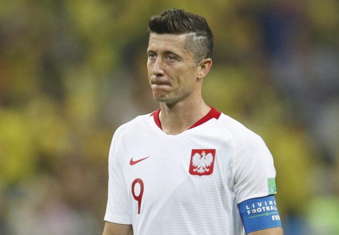 Lewandowski, durante el partido entre Polonia y Colombia por el Mundial.