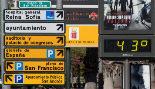 Termómetro situado en el Plano de San Francisco, en Murcia.