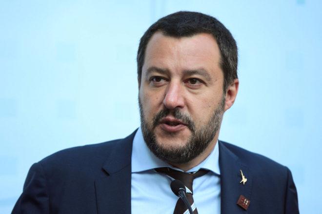 El ministro del Interior Italiano, Matteo Salvini, durante una...