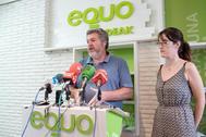 Los portavoces de Equo Juantxo López de Uralde y Erika Martínez.