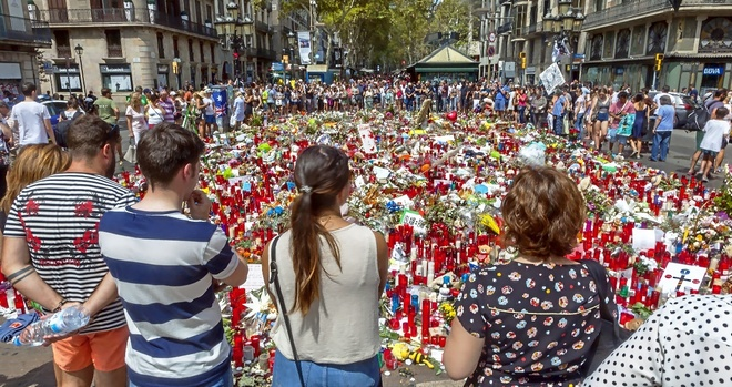 Homenaje a las víctimas en La Rambla, en Barcelona, en agosto de...