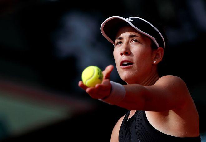 Muguruza, durante un partido de Roland Garros.