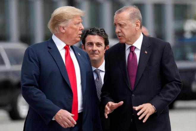Trump y Erdogan durante la última cumbre de la OTAN en Bruselas.