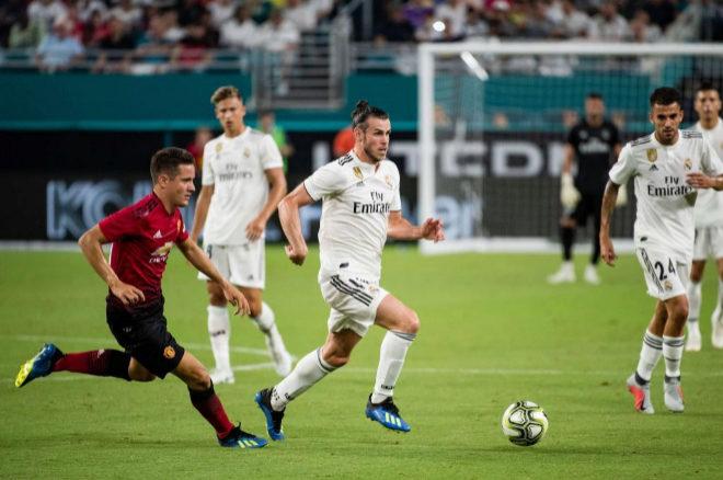 Gareth Bale durante el partido entre Real Madrid y Manchester United...