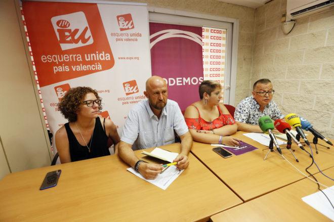 Marisol Moreno y Luis Fernando Sevilla (EUPV) y Vanessa Romero y Pascual Pérez (Podemos), ayer en Alicante.