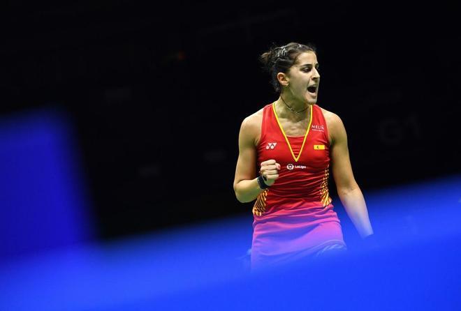 Carolina Marín, durante su partido contra Nahwal.
