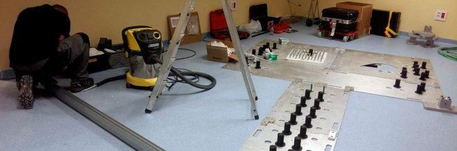 Los operarios han comenzado a preparar la sala del Hospital Provincial de Castellón, trabajo previo a la instalación del nuevo Pet-Tac.