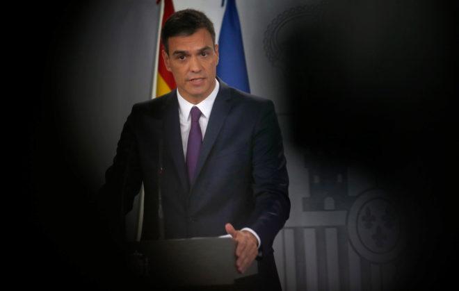El presidente del Gobierno, Pedro Sánchez, ayer, durante la rueda de...
