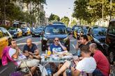 Un grupo de taxistas durante la huelga de la semana pasada en...
