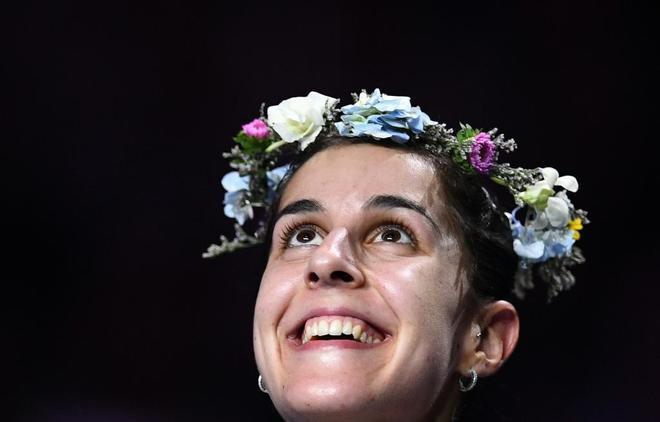 Carolina Marín, en el podio del Mundial, este domingo.