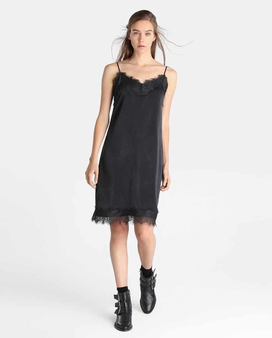 Vestido lencero negro midi