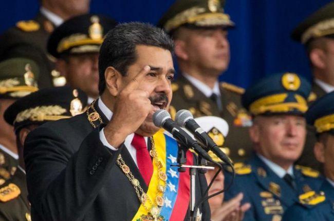 Maduro antes de ser evacuado de emergencia de un acto en Caracas, Venezuela.