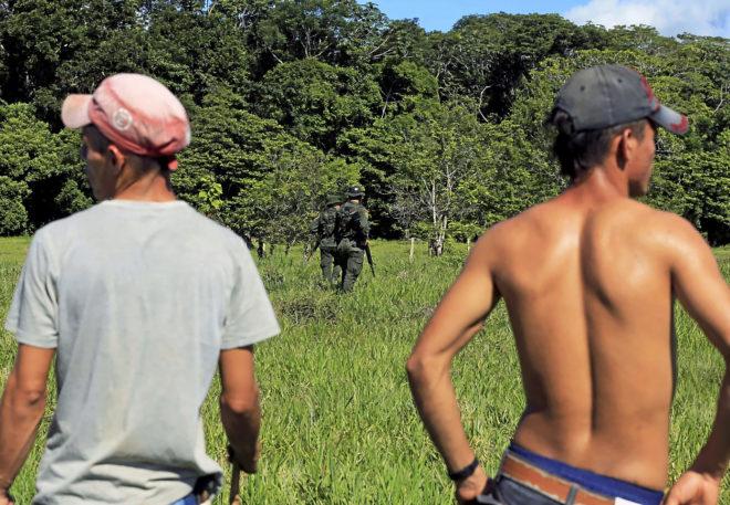 Cultivadores de coca y agentes de policía en Cano Lajas, Guaviare, Colombia.