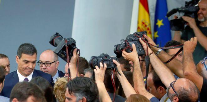 El presidente del Gobierno, Pedro Sánchez, tras el Consejo de...