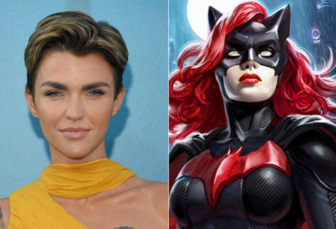 La actriz Ruby Rose junto al personaje de Batwoman
