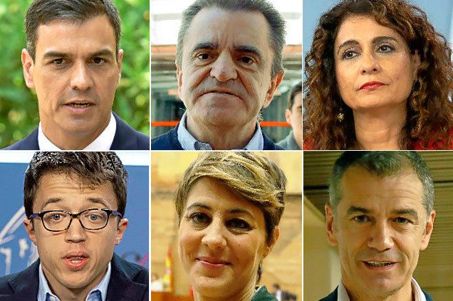 De izqda. a dcha. y de arriba abajo, Pedro Sánchez, José Manuel Franco, María Jesús Montero, Íñigo Errejón, Lorena Ruiz-Huerta y Toni Cantó.