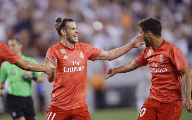 Gareth Bale y Marco Asensio en el partido de pretemporada ante la Roma