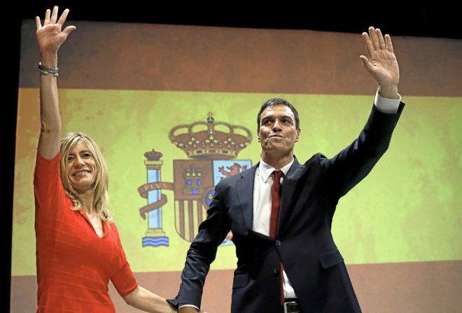 Begoña Gómez, junto a su marido y presidente del Gobierno, Pedro Sánchez