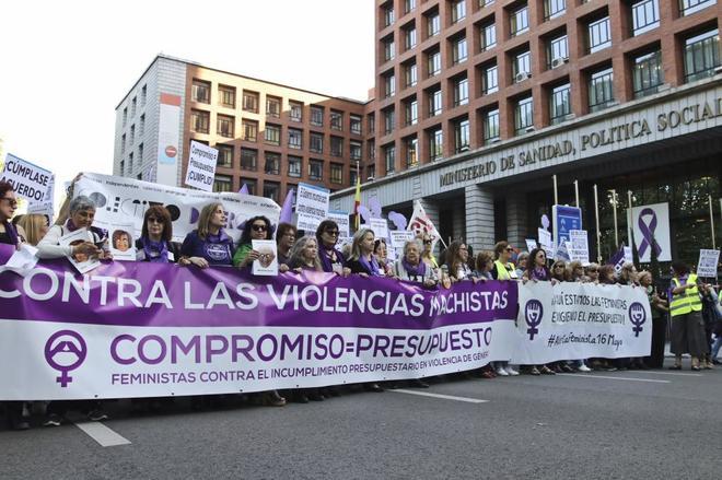 Manifestación contra la violencia de género celebrada en Madrid el...