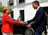 Pedro Sánchez recibe a Angela Merkel en el Palacio de los Guzmanes,...