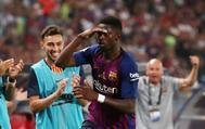 Ousmane Dembélé celebra su gol ante el Sevilla.