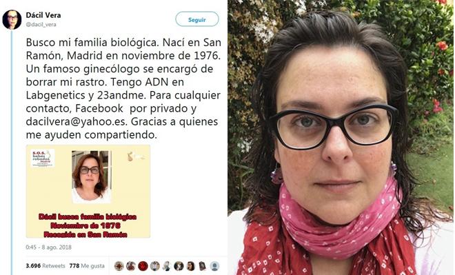 Dácil Vera y su mensaje que se ha viralizado en Twitter, en el que cuenta su historia y en el que pide ayuda para encontrar a su familia biológica.