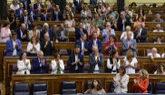 El grupo parlamentario socialista durante un Pleno en el Congreso