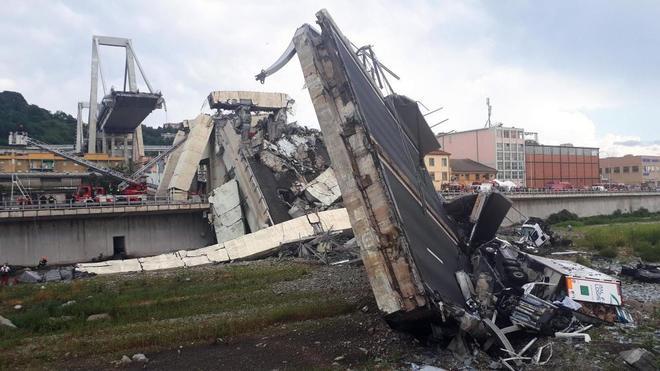 El derrumbe del puente Morandi de Génova,