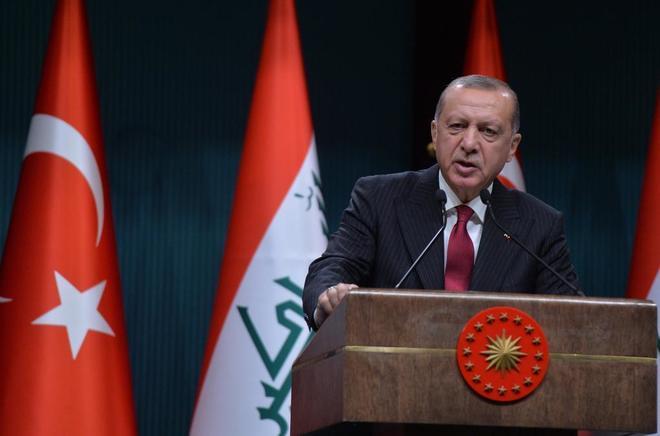 El presidente turco, Recep Tayyip Erdogan en una rueda de prensa.