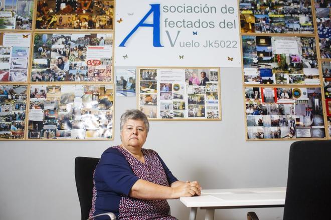 La presidenta de la Asociación de Afectados del Vuelo JK5022, Pilar...